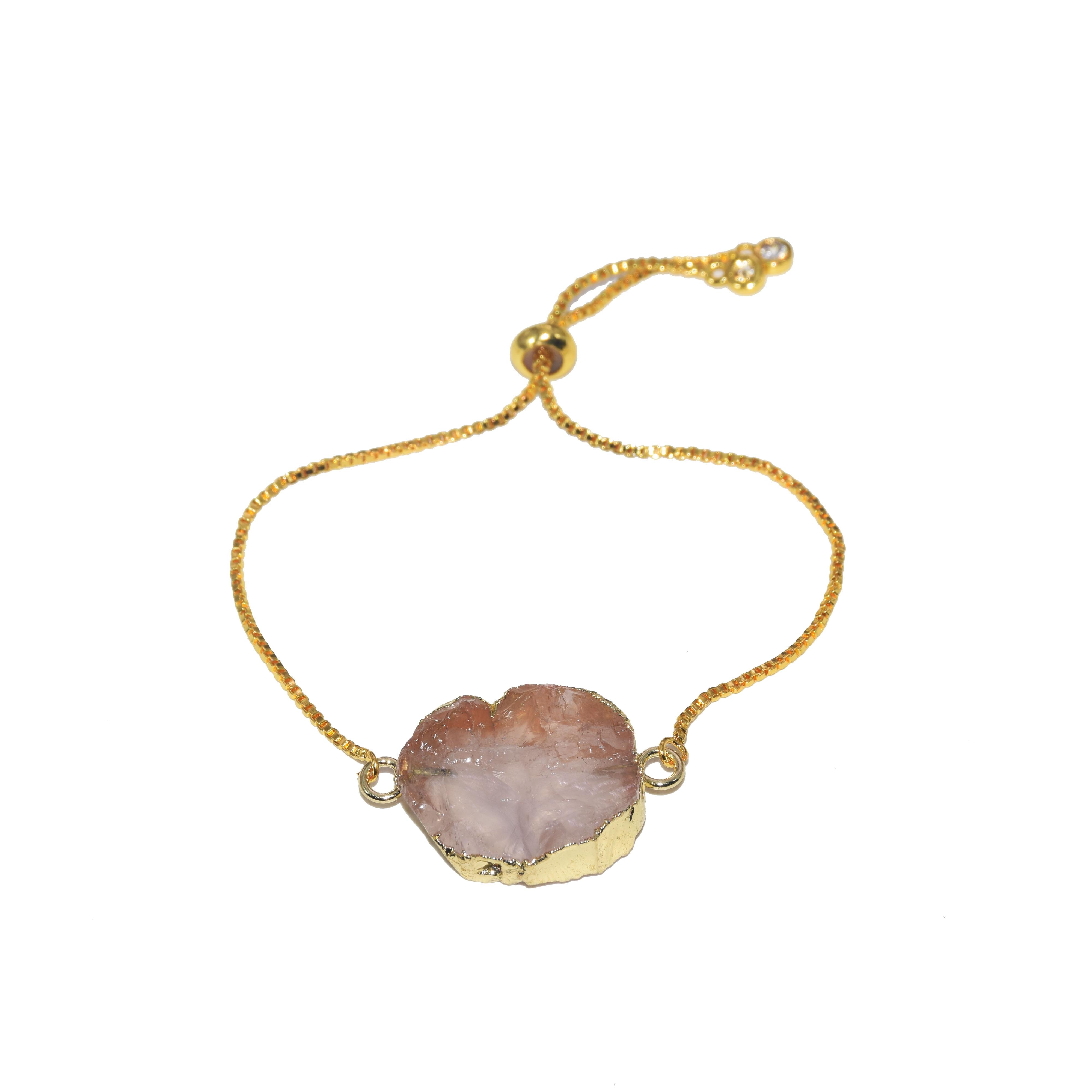 2019 New Style Natural Rose Crystal Quartz love connector couple bracelet femme Pink raw stone bracelet women