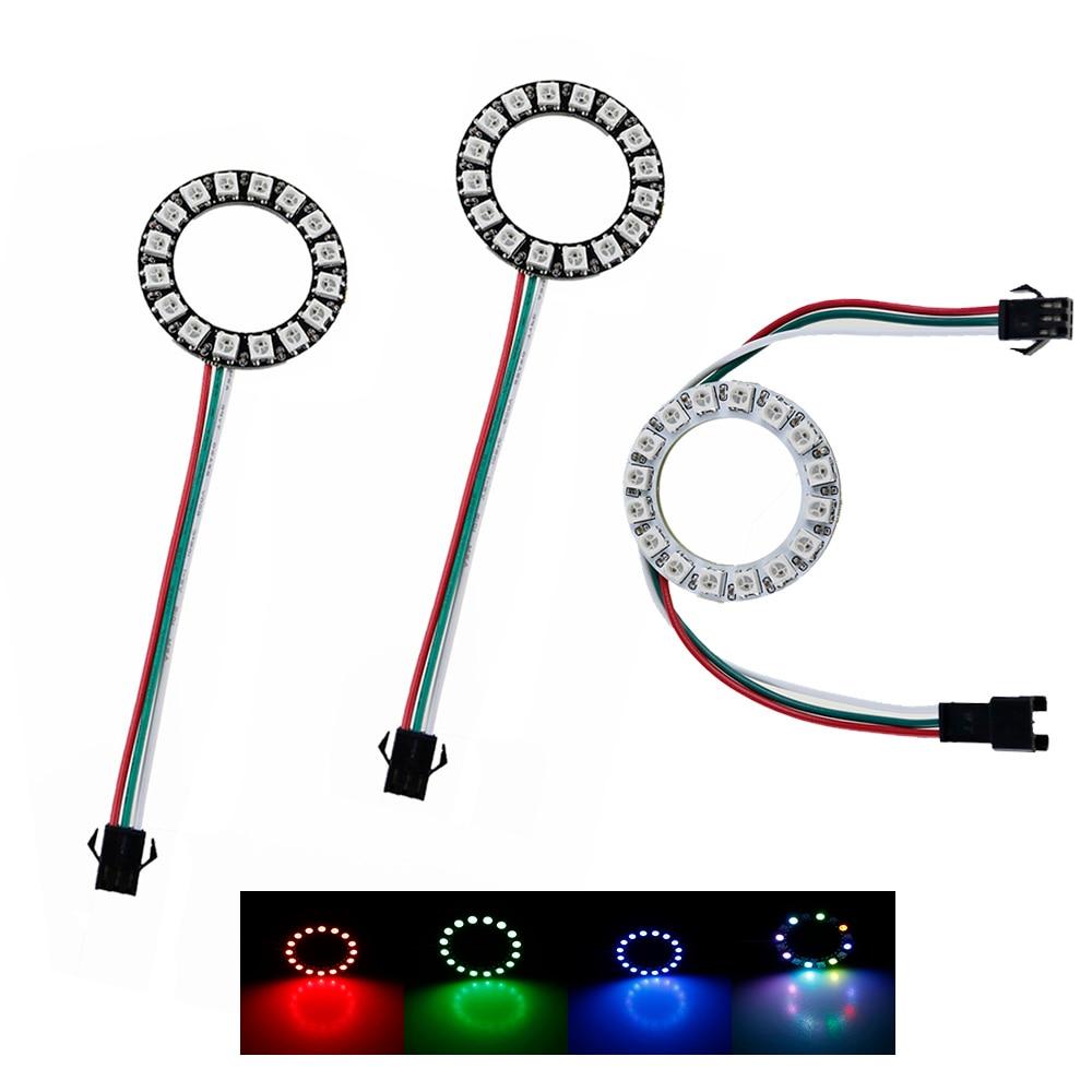 WS2812 16 Bits LEDs SMD 5050 RGB anillo direccionable Individual, luz de píxel Led redonda, tablero DC5V Blanco/Negro PCB DF