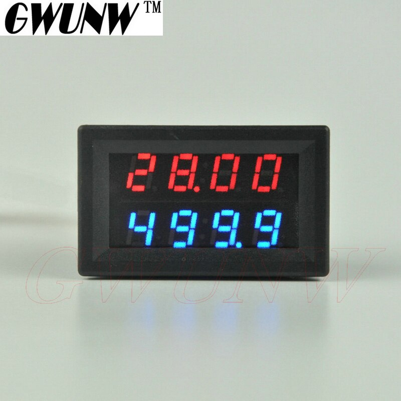 GWUNW BY42A 30V 1A DC 4 BIT amperímetro de voltaje Digital probador de corriente voltímetro doble pantalla rojo azul verde LED