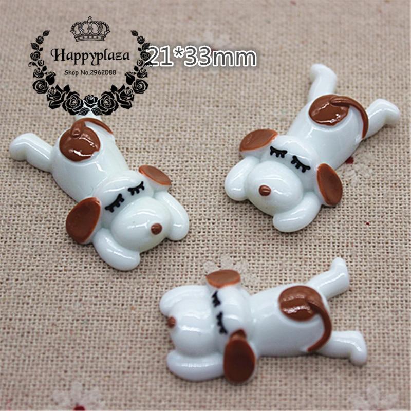 10pcs Kawaii Resin Animal Sleeping Dog Flatback Cabochon Charm DIY Phone/Craft Decoration,21*33mm