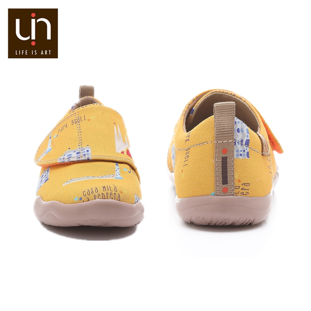 UIN Art City Design Painted Casual Shoes Kids Round Toe Comfort Flats for Girls/Boys Hook & Loop Children Soft Sneakers Outdoor enlarge