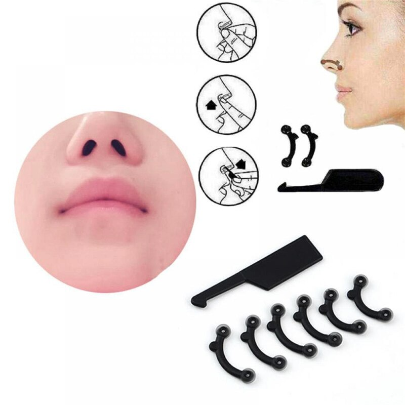 6Pcs/Set Beauty Nose Up Lifting Bridge Shaper Massage Tool No Pain Nose Shaping Clip Clipper Women G