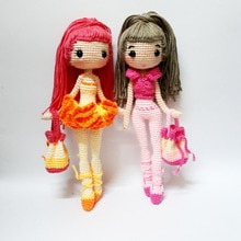crochet toys  amigurumi  rattle  fashion doll girl model  number  SQ0020