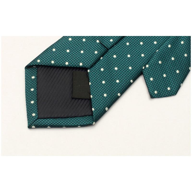 2019 New Men Ties Top Quality Brand Fashion Casual 6CM Necktie Vestidos Business Wedding Tie Dress Shirt Dot Green with Gift Box