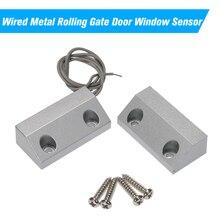 Sensor de ventana de puerta enrollable de Metal con cable Contactos magnéticos alarma Reed interruptor Detector para sistema de Control de acceso de alarma
