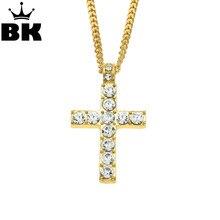 Hip Hop Alliage Dor Couleur Croix Pendentif Collier Religieux Iced Out Strass Crucfix Collier Jewely Pour Hommes Livraison Chaîne Cubaine