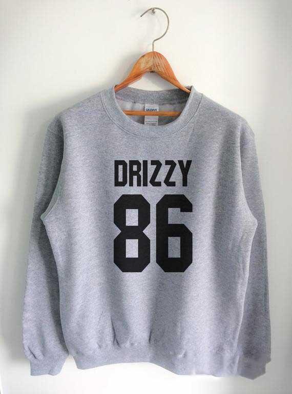 Sugarbaby Drake 86 Sweatshirt Long Sleeve Fashion Tumblr Jumper Crewneck Sweatshirt Unisex Casual Tops Drop ship Drake Jumper drop shoulder open knit jumper