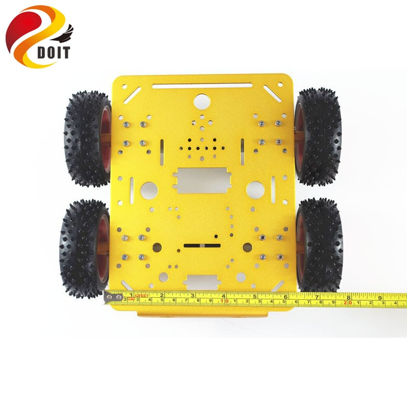 Yellow C300 Metal Car Chassis 4wd with Aluminum Alloy Chassis/Frame with Robotic Arm Interface Holes for Modification RC enlarge