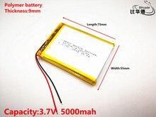 Iyi Qulity 3.7 V, 5000 mAH 905575 Polimer lityum iyon/li-ion pil için tablet pc BANKASı, GPS, mp3, mp4