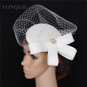 Elegant Lady Birdcage Veil Decoration Fascinator Hat Base Women Wedding DIY Hair Accessories Imitation Linen Headdress Handmade