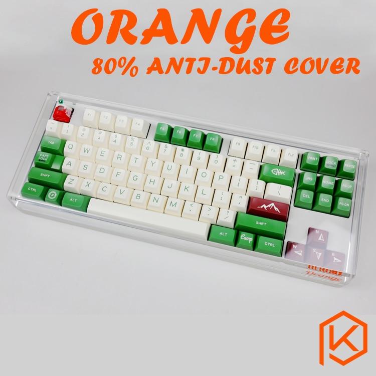 Acrílico ornage 80% capa de poeira anti poeira guarda tampa para 80% teclado mecânico tais como 87 tkl wkl 87 xd87 ikbc ducky filco