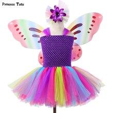 1 ensemble filles arc-en-ciel fée Tutu robe avec ailes princesse enfants fille robe de fête Halloween papillon Cosplay filles fantaisie Costumes