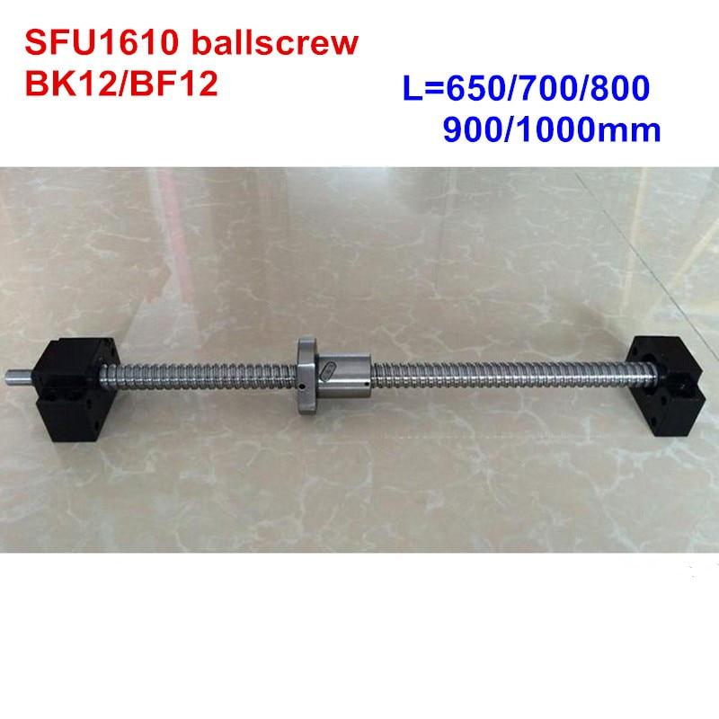 SFU1610 650mm 700mm 800mm 900mm 1000mm ballscrew + BK12/BF12 CNC
