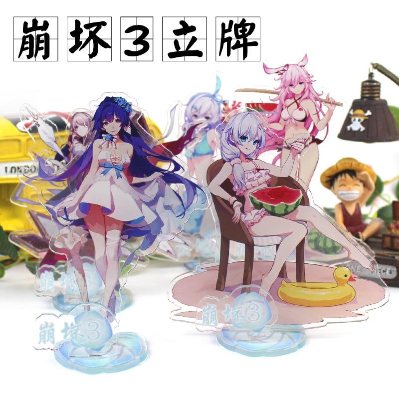 15,5 cm Honkai Impact 3 Kiana Kaslana Raiden Placa de pie de acrílico modelo de pie decoración de escritorio de hogar adornos