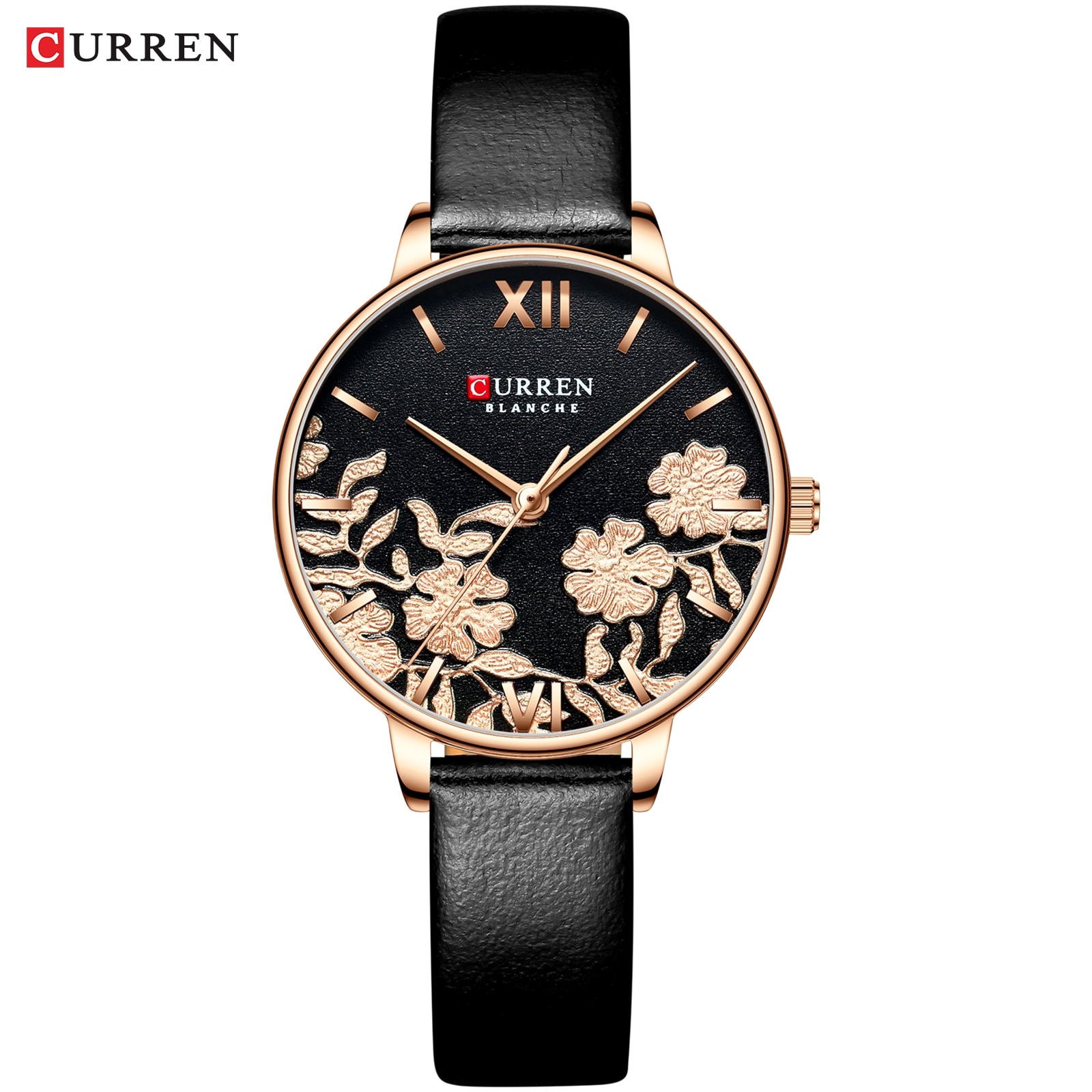 CURREN 2019 Women Watches Rome Dial Classic Flower Thin Leather Strap Quartz Wristwatch Watch Montre Femme For Ladies Girls Gift enlarge