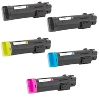 5 Pack Toner Cartridge Compatible for Dell H625cdw H825cdw S2825cdn  Black 3000 pages  Cyan Magenta Yellow 2500 pages