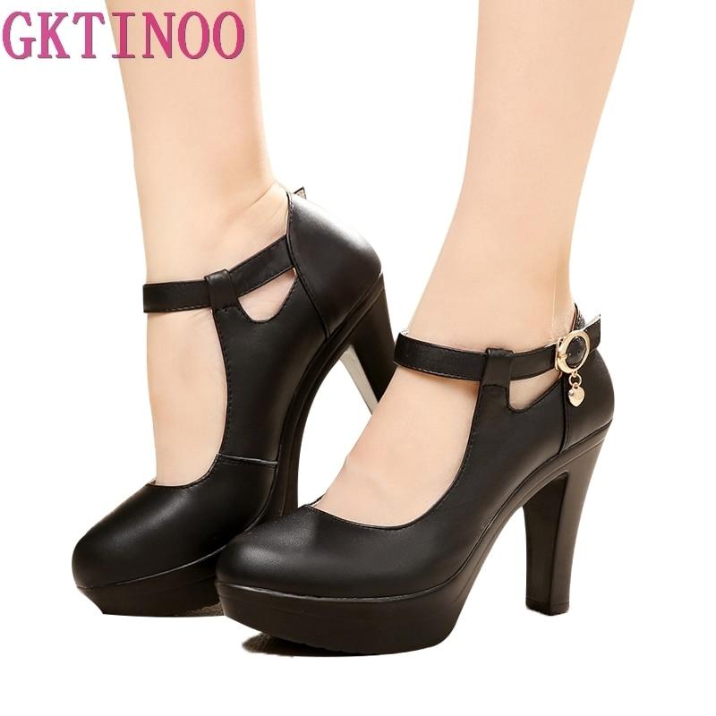 GKTINOO جودة المرأة أحذية من الجلد مع الكعوب 2021 منصة ماري جين أحذية النساء مضخات OL مكتب أحذية عمل امرأة عالية الكعب