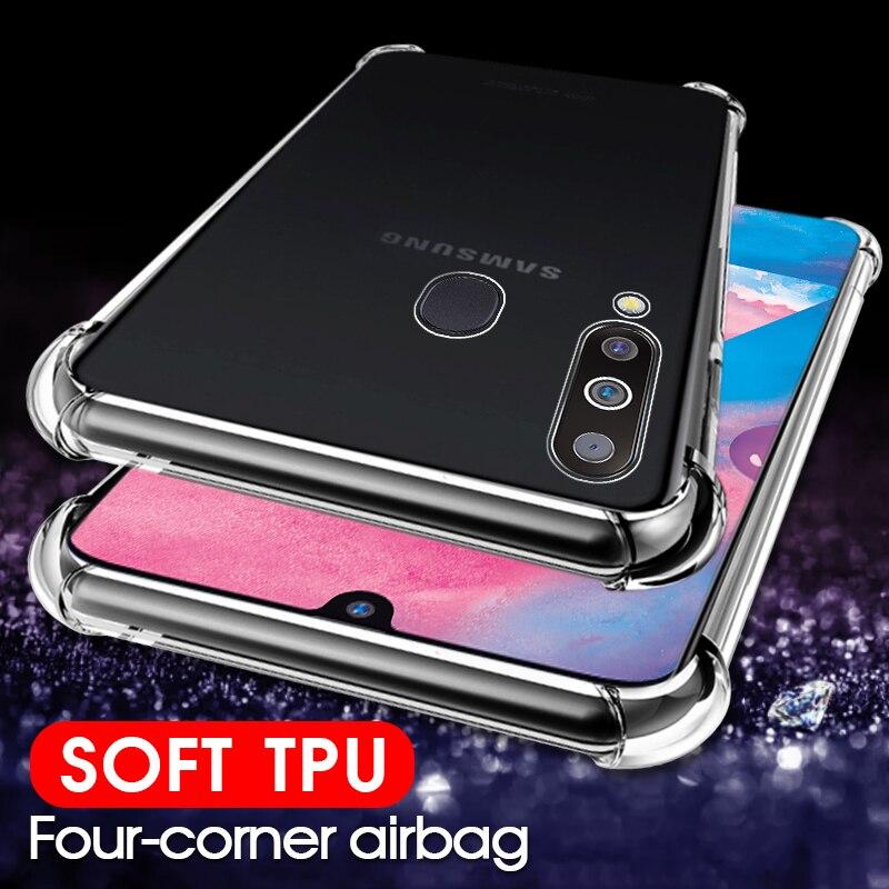 A prueba de golpes a prueba claro silicona caso para Samsung Galaxy A7 A9 A8 más A6 J4 J6 2018 para M10 A30 A50 A40 A70 A10 A20 de la cubierta del TPU del