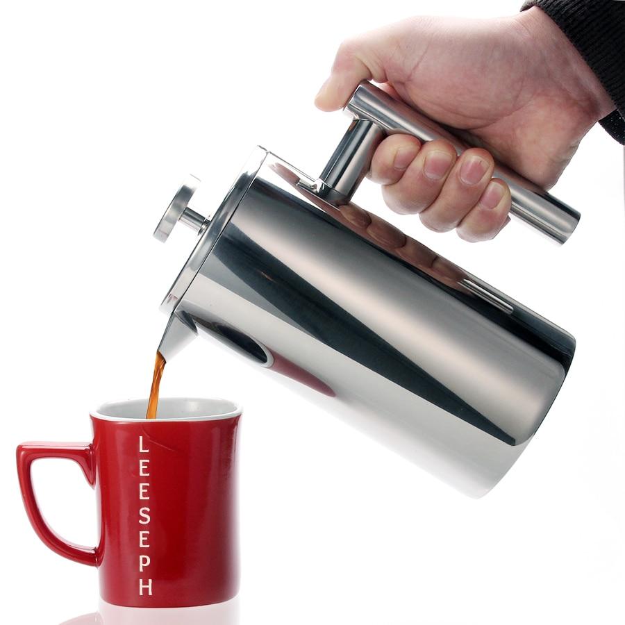 Cafetière théière Double paroi à pression   1 litre 34 onces, thermos robuste en acier inoxydable 18/10 pour boissons à café