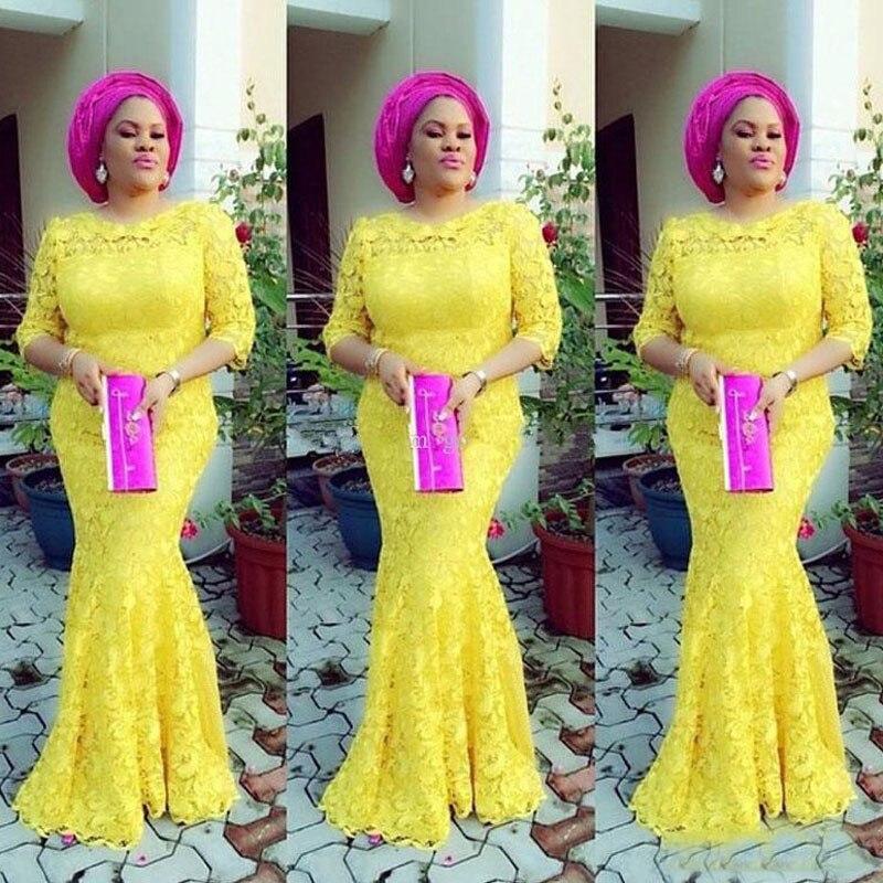 2018 النيجيري الأصفر حورية البحر مساء أثواب نصف كم الأفريقي الحفلة الراقصة الأنيق يشبع طويل حزب فساتين للنساء