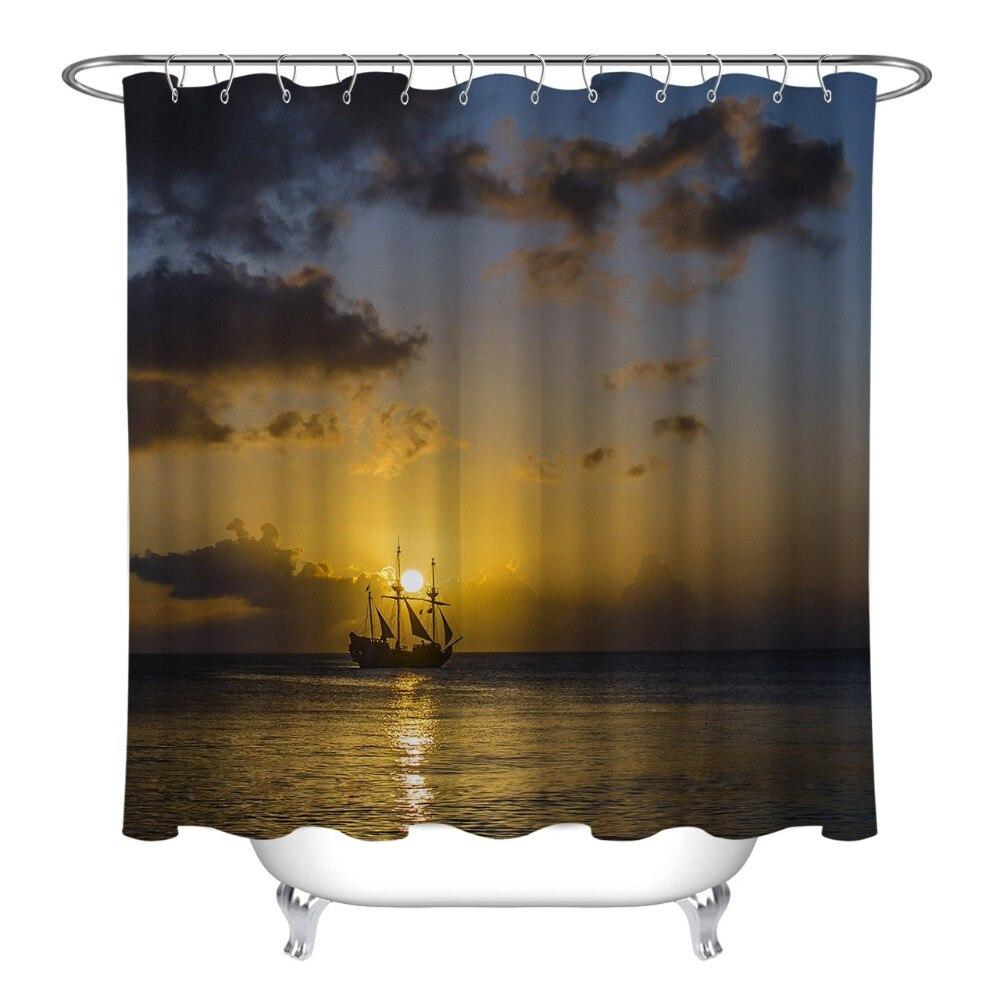 """Cortina de ducha de tela impermeable de 72 """"con atardecer, cielo oscuro, nube, velero, mar, baño, cortina de ducha de poliéster con 12 ganchos para juegos de accesorios para baño"""
