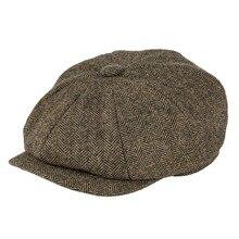 BOTVELA-casquette de gavboy pour hommes   Laine Tweed 8 pièces, kaki à chevrons, panneau 8-quarts, pilote classique, casquettes plates, béret Cabbie, chapeau 005