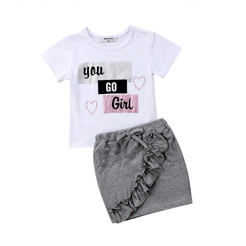 Новинка, топы для маленьких девочек, футболка, юбка-карандаш, комплект из 2 предметов, комплект одежды с рюшами и короткими рукавами, для дете...