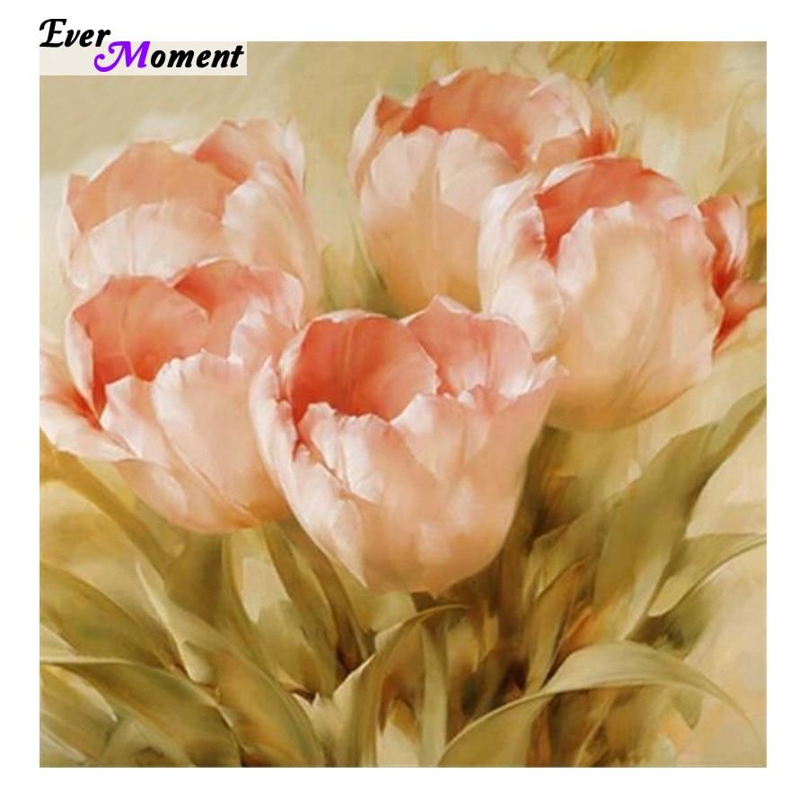 Тюльпан цветок рукоделие DIY алмазная живопись мозаика домашнее украшение крестиком квадратная полная Алмазная вышивка цветочный ASF213