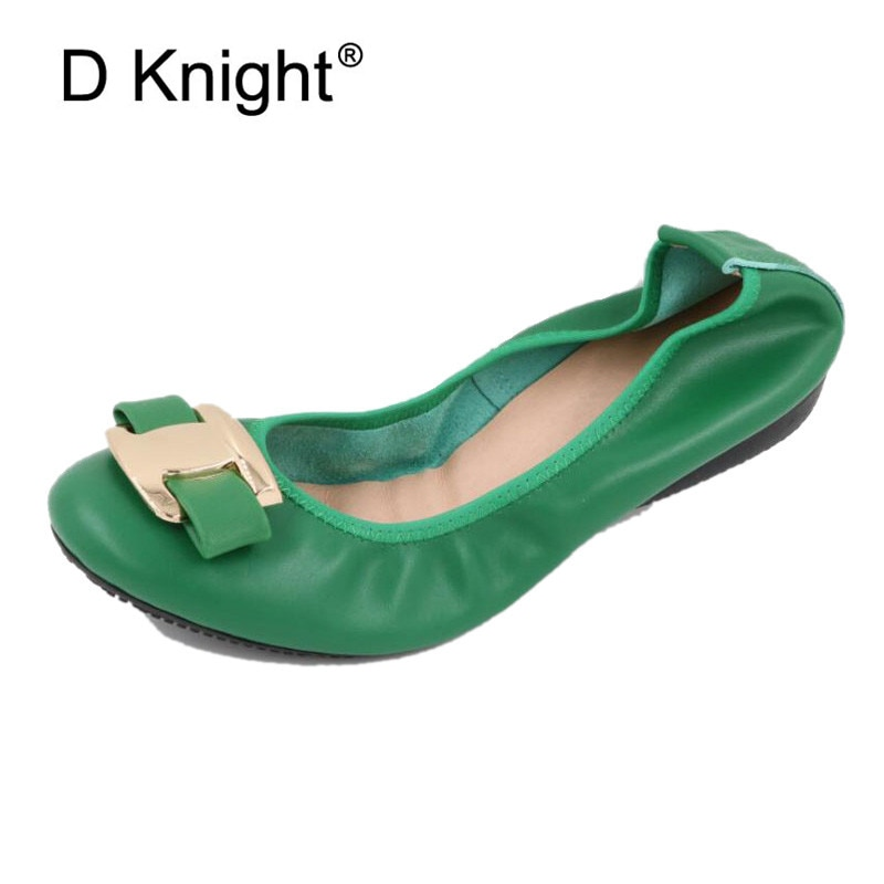 2021 New Women Flat Loafers Shoes Slip-on Bow Metal Decoration Casual Ballet Flat Genuine Leather Women Ballerina Shoes Big Size