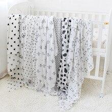 Couverture en coton pour bébé 120x120cm   Serviette de bain Super douce, couche en mousseline pour nouveau-nés enfants, accessoires de photographie lange demmaillotage