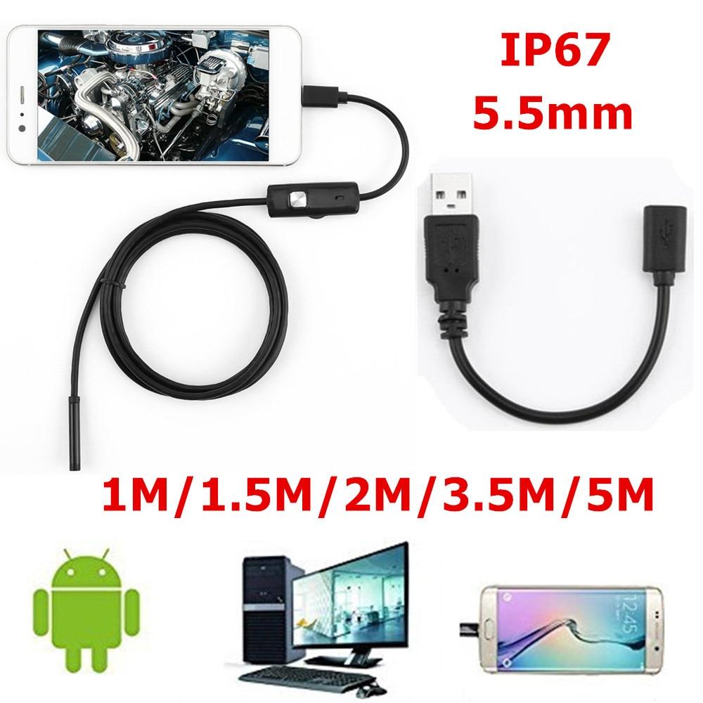 Endoscope USB 1/1.5/2/3/5M   5.5mm, objectif 720P HD avec 6 câble souple de 6, Endoscope dinspection étanche pour PC Android