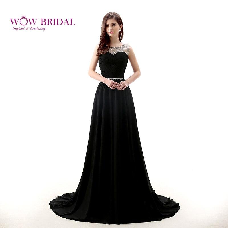 Wowbride-فستان سهرة طويل من الدانتيل الأسود للنساء ، فستان سهرة أنيق بدون حمالات مع حزام من الكريستال ، جيرسي ، a-line ، مع انتفاضات ، 2021