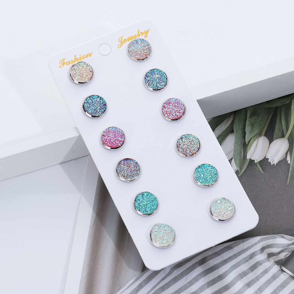 1/6 pares/conjunto de moda redonda cristal druzy parafuso prisioneiro brincos conjunto bling colorido sparkly strass único do parafuso prisioneiro da forma jóias