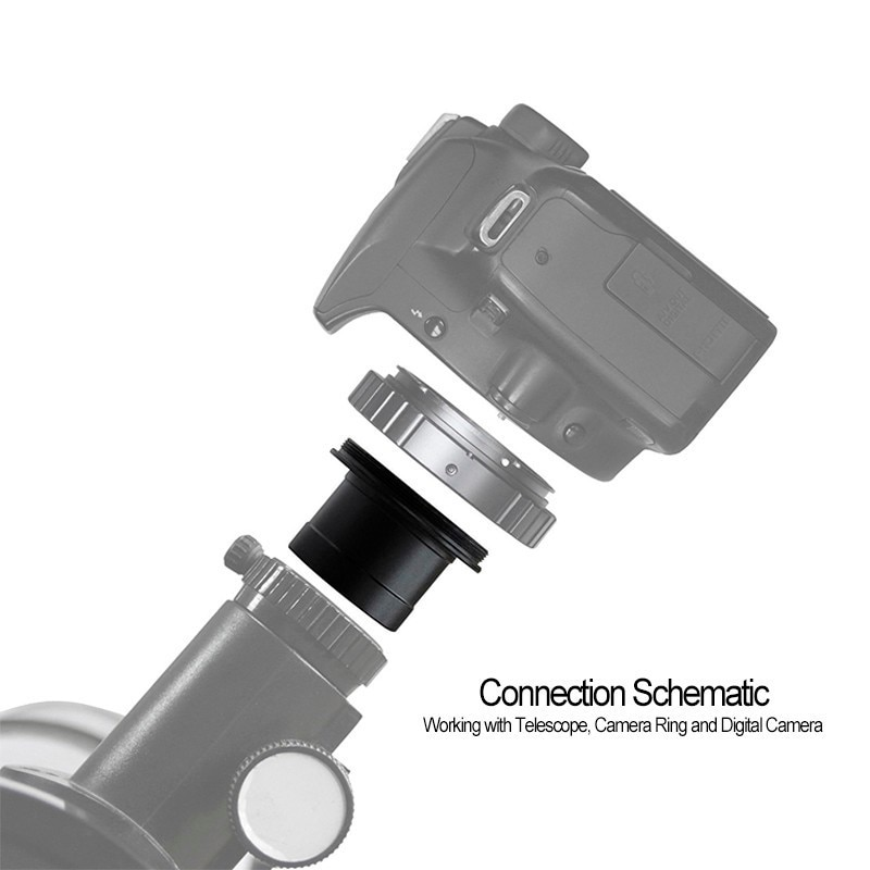 """Adaptador de cámara de Metal de 0,91 """"pulgadas, 0.996"""", 1,25 """", interfaz de montaje en T para microscopio telescópico y fotografía dedicada"""