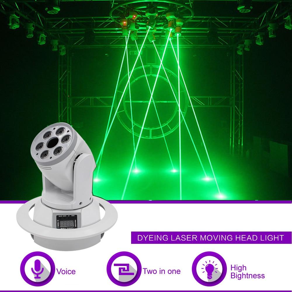 Sharelife 6 عدسة 8 واط RGBW LED مختلط 500 ميجا واط شعاع الليزر الأخضر DMX تتحرك رئيس العارض ضوء DJ حفلات عرض المرحلة الإضاءة DJ-SZ6