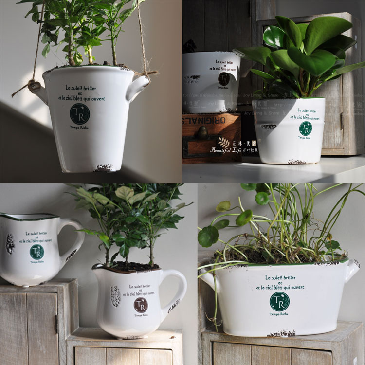 Home decoration pots ceramic vase retro finishing flower pot fleshier plant flower pot band vase flower pot home decor