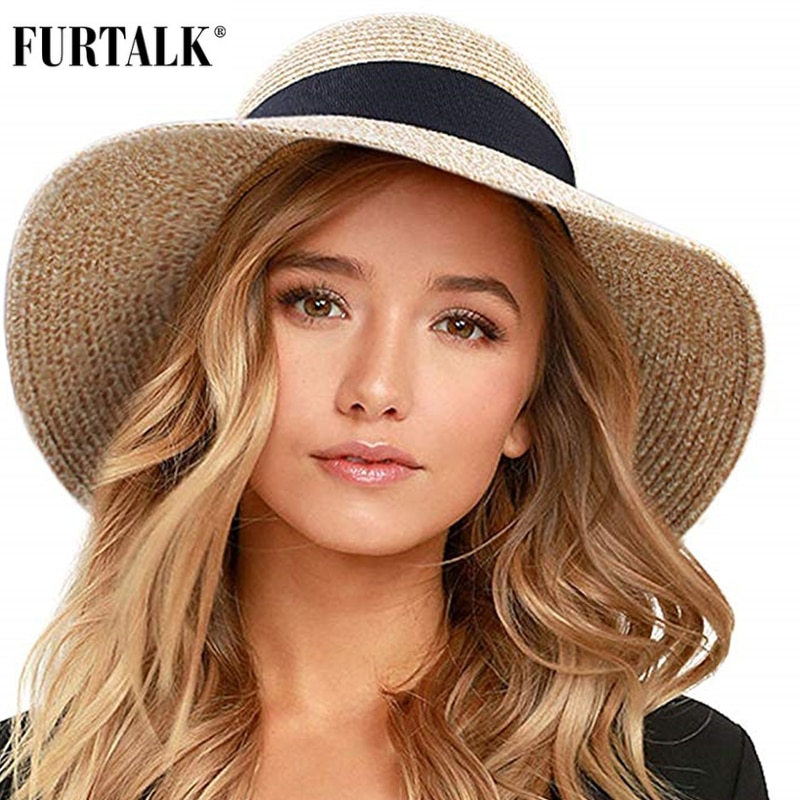 bucket hat women spring panama cap sun summer beach wide brim climbing holiday outdoor accessory FURTALK Summer Hat for Women Beach Sun Hat Straw Hat panama fedora Cap Wide Brim UV Protection Summer Cap for Female
