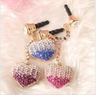 Transition Color Diamond Cute Peach Heart Phone Dust Plug Plug Headphone Plug for Iphone for Samsung for LG for HTC