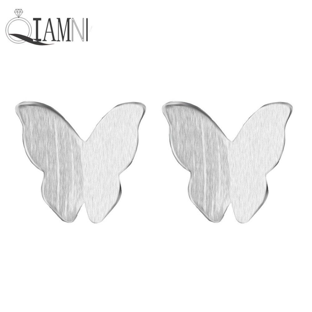 QIAMNI, joyería de plata de ley 925, pendientes pequeños de mariposa bonitos con forma de Animal para mujer, chica, dama de honor, regalo de Navidad para fiesta