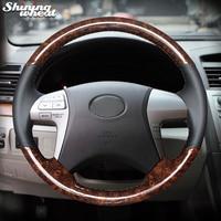 Shining wheat Wood grain PU Carbon Fiber Steering Wheel Cover for Toyota Highlander Toyota Camry 2007-2011