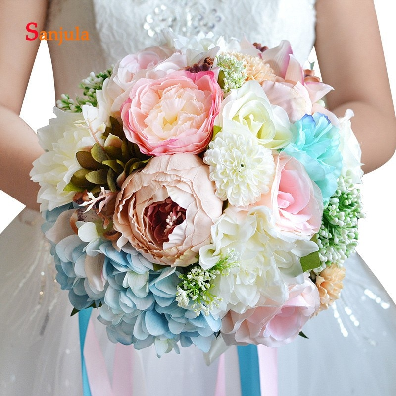 Ramo de flores artificiales hechas a mano de gran calidad para novia, ramo de flores colorido para dama de honor WB25