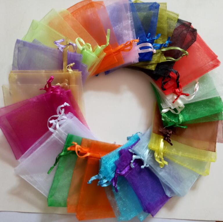 Bolsa con cierre de cordón de Organza dibujable 1000 Uds. Bolsa de almacenamiento de bolsas para exhibición de joyas, regalos de Navidad, bodas, cumpleaños y fiestas