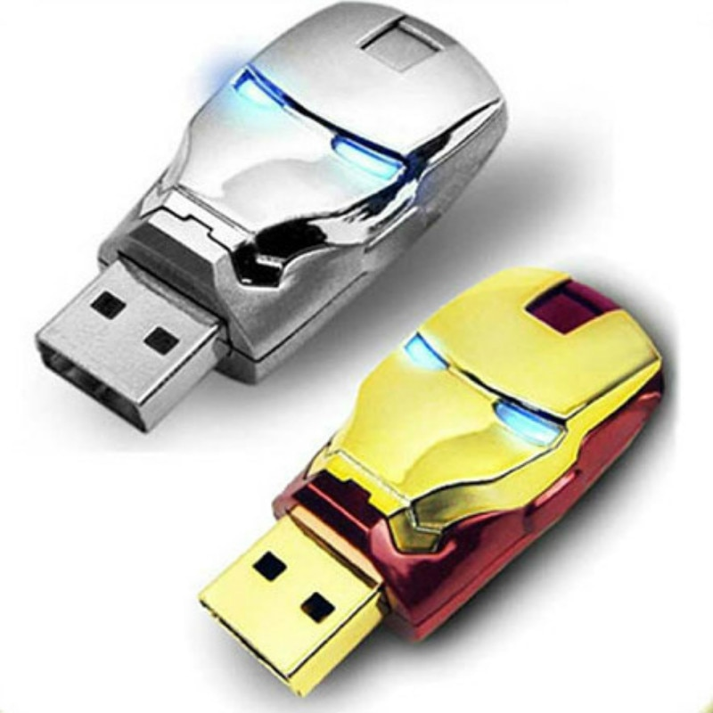 J-boxing USB Flash Drive 32GB LED Iron Man Robot Pendrives 16GB USB Memory Stick 64GB Thumb Drive for Laptop Mac Tablet