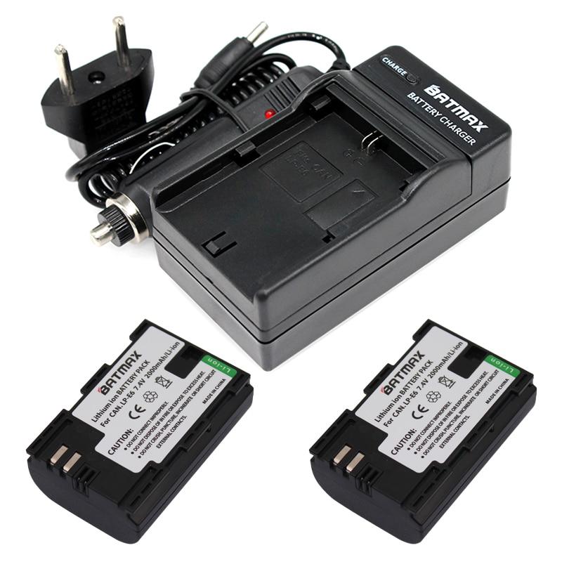 2x bateria LP-E6 LPE6 LP E6 Cámara batería + cargador para DSLR...