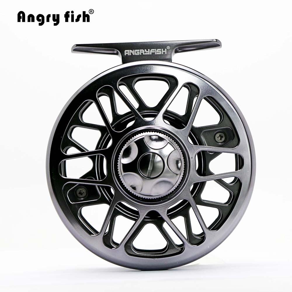 Angryfish carrete de pesca con mosca de Metal completo 2 + 1BB aleación de aluminio carrete de pesca con mosca de fundición a presión con cenador grande
