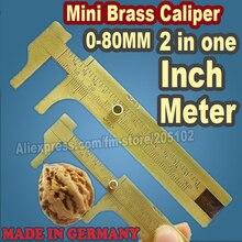 0-80mm 미니 브래스 경감 님이 슬라이딩 버니어 캘리퍼스 슬라이드 스케일 도구 눈금자를 측정 독일에서 만든 도구 DIY 작업