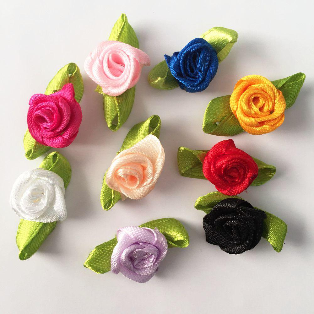 HOT 60pcs 20mm Loveliness Swirl Satin Ribbon Rose Flower Craft Wedding Decoration A03A*2