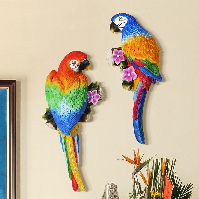 Pastoral Europea estéreo 3D de resina para loros, adornos para colgar en la pared de pájaros, decoración de hogar creativa de fondo de pared, Mural artesanal