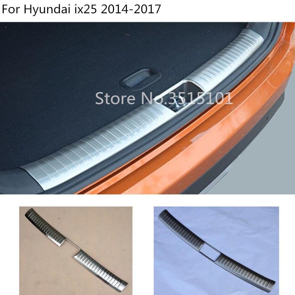 Estilo de coche de acero inoxidable interior trasero parachoques trim plate Trunk marco umbral para Hyundai Creta IX25 2014 2015 2016 2017