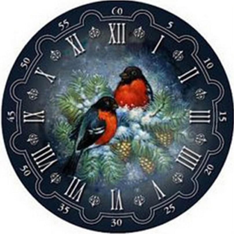 Cuadro Completo de punto de cruz con diamantes de imitación, mosaico bordado, decoración de pared para el hogar, arte 3D Diy, pintura de diamantes, reloj de flores y pájaros HL080
